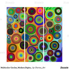 Multicolor Circles, Modern Digital Abstract Panels Triptych