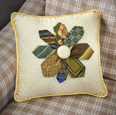 Necktie Flower Pillow - Crafts 'n things--cute idea to do with old ties. Mens Ties Crafts, Tie Crafts, Sewing Crafts, Tie Pillows, Sewing Pillows, Necktie Quilt, Shirt Quilt, Quilting Projects, Sewing Projects