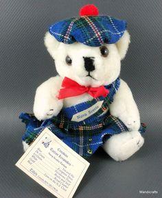 Tillys Mini Teddy Bear Plush Nova Scotia Tweed Tartan Kilt Tam Souvenir Hang Tag