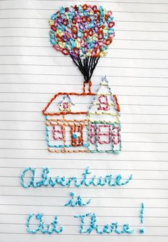 """one sheepish girl: Journal Page Embroidery - """"Adventure is Out There!"""""""