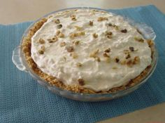 I was given this recipe years ago by a Chef at a restaurant in upstate NY It's fantastic, cool and refreshing. This recipe will make 2 pies but I use a big pie plate and pile it high, very pretty.