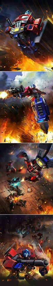 Transformers The Movie - Optimus Prime In Action
