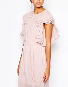 Image 3 of ASOS TALL Ruffle Front Maxi Dress