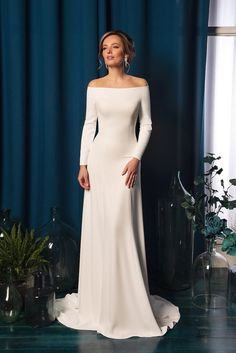 Neckline: Portrait/Off-Shoulder<br />Dress Length: Full-Length<br />Silhouette: Mermaid & Trumpet<br />Style: Beach Dress<br />Back Closure: Zipper<br />Sleeve Style: Long Sleeve<br />Look: Beach, Princess<br />Material: Satin Amelia Sposa Wedding Dress, Ombre Wedding Dress, Wedding Dress Types, Informal Wedding Dresses, Making A Wedding Dress, Informal Weddings, Sheath Wedding Gown, Bohemian Wedding Dresses, Gorgeous Wedding Dress
