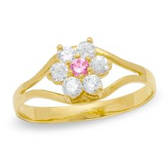Child's Clear and Pink Cubic Zirconia Flower Ring in 10K Gold -