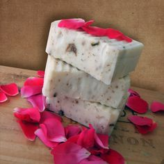 Chocolate Rose Soap Bar with Cocoa Butter. This chocolate rose soap smells like roses with a hint of chocolate from the added cocoa butter and is embedded with my garden dried rose pedals.