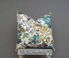 Floral Pillow Cover Decorative Throw Pillow Decor Pillow Olive Green Pilllow Eggplant Purple Pillow Teal Blue Pillow, Watercolor, 18x18 on Etsy, $18.00