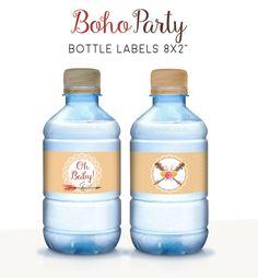 Baby shower water labels, Printable bottle wrappers, Water bottle labels, Boho party decor, Gender neutral baby shower, Boho party de PrintableArtWishes en Etsy https://www.etsy.com/es/listing/519227751/baby-shower-water-labels-printable