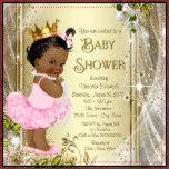 African American Princess Pink Tutu Baby Shower Invitation | Zazzle