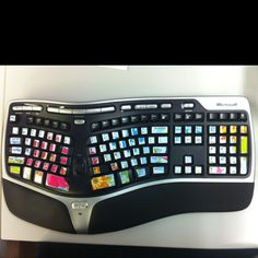 Keyboard stickers for a splash of color in a otherwise gray cube.