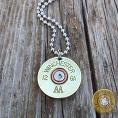 Unisex 12 gauge shotgun shell necklace in brass or nickel with a 24 inch ball…