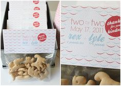 """two by two. Baby shower: I decided to go with a """"two by two"""" theme. Simple cellophane bags were filled with animal crackers then topped with a custom card with the boys birth date, names and weights. Baby Shower Favors, Baby Shower Themes, Baby Boy Shower, Baby Shower Gifts, Shower Ideas, Baby Showers, Baptism Favors, Baptism Party, Twin Boys"""