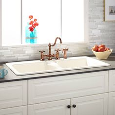 """43"""" Selkirk Bisque Double-Bowl Cast Iron Drop-in Kitchen Sink -"""