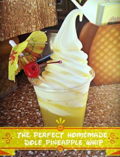 This is the best recipe for homemade Dole Pineapple Whip (using an ice cream maker). Frozen Desserts, Frozen Treats, Just Desserts, Delicious Desserts, Dessert Recipes, Frozen Drinks, Dole Pineapple Whip, Pineapple Juice, Dole Whip Recipe