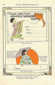 Japanese Birthday Party Invitation - Fern Bisel Peat