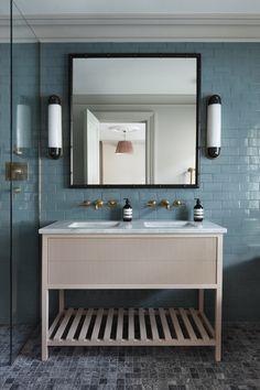 The Mews Belgravia — hám interiors London Bath, Industrial Kitchen Island, Interior Design London, Interior Ideas, Utility Shelves, Bamboo Mirror, Vanity Units, Antique Furniture, Double Vanity