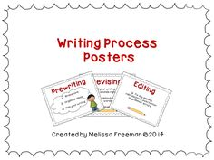 Free!  These posters show the 5 stages of the Writing Process: Prewriting, Drafting, Revising, Editing, and Publishing. This file also includes a printable page with all 5 steps for students to keep as a reference in their writing folders.