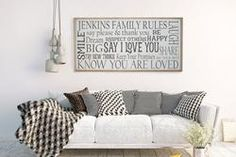 Family Rules 2'x4' Horizontal Sign Customize with your last name. Add your own family rules. My favorites on this sign are say I love you and dream big, they are huge rules in our family.