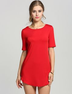 Red O Neck Short Sleeve Solid Loose Straight Shift Casual Dress