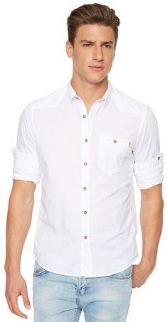 Hemd mit Ziernähten für Männer (unifarben, langärmlig mit Button-Down-Kragen) - TOM TAILOR