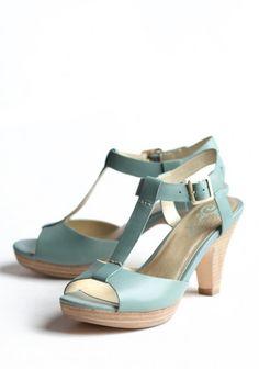 sea foam blue T-strap leather heels by Seychelles