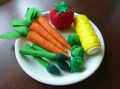 Vegetable Set  Felt Play Food by LittlePicklepotamus on Etsy, $50.00    100% worth it!  my son LOVES all his foods!!