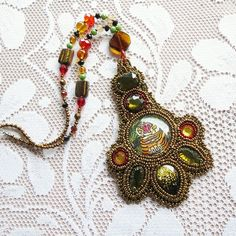 Tiger bead embroidery golden necklace, crystal beaded necklace, gold seed beads, painting jewelry