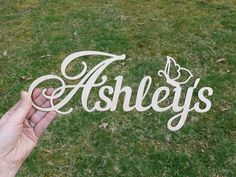 Add this butterfly-themed custom wood word sign to your babys nursery, daughters room or your craft projects! This personalized wood word cutout is laser cut from sanded 1/8 (3mm) or 1/4 (6mm) Baltic Birch plywood.    #customname #nurserydecor #abovethecrib #customsign #lasercut #darinascrafts #customsign #scriptname #scriptword #woodsign #woodname #woodcutout #cutout