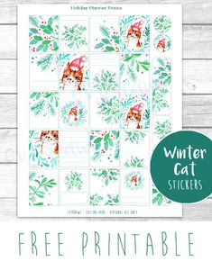 Free Printable Winter Cat Planner Stickers from evydraws {subscription required}