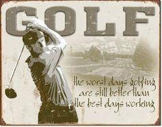 Golf Best Days Metal Tin Sign 16x12 Poster Discount Http