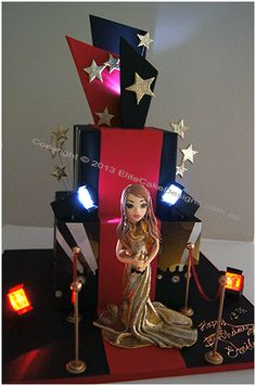 Hollywood Red Carpet Cake with spotlights