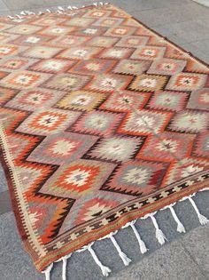 Pastel pink kilim rug vintage rug turkish by ClassicArtStudio