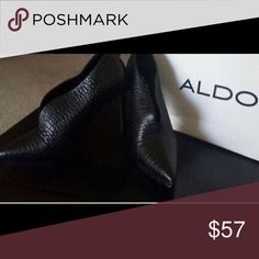 Aldo size 8 textured BLACK bootie heels Brand new in box. Never worn. These very cute texturizing leather heeled booties are perfect with anything. Very cute with pants, skirts and whatever. Easy to walk in. Aldo Shoes Ankle Boots & Booties