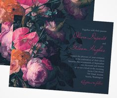 The absolutely stunning Midnight Bouquet wedding invitation by Claire Pettibone for Wedding Paper Diva.