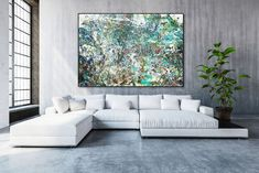 Wall Art - Perfect for living room, bedroom, or any room! Abstract Fluid Painting on canvas. Blue and Green Original Canvas Painting. Beautiful and colorful large wall art for your home. Chesterfield Sofas, Sofa Cushions, Couch, Style Minimaliste, Colorful Paintings, Colorful Artwork, Abstract Wall Art, Blue Abstract, Houses
