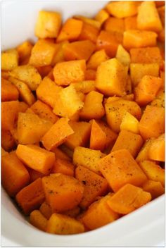 Slow Cooker Butternut Squash: a simple side dish recipe for butternut squash in the slow cooker that can be prepped in minutes.