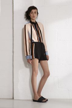 Emma Cook Resort 2016 COLOR BLOCK SHIRT  AND SHORTS IN SILK CDC, SHELL PINK.
