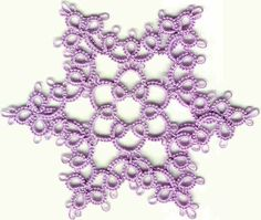 I tatted several of these snowflakes in white #20 thread and enclosed them in Christmas cards.