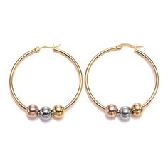 IBLUE Jewelry Woman Silver Beads Charm Stainless Steel Hoop earrings ** For more information, visit now : Jewelry