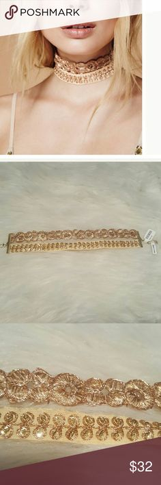 Free People Double Elsa Choker New with tags! Free People Exclusive. Rose gold.  Offers welcome! Free People Jewelry Necklaces