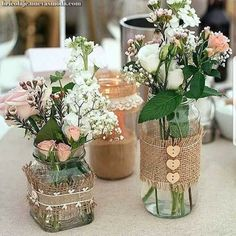 Ideas Bridal Shower Decorations Elegant Fall For 2019 Bridal Shower Centerpieces, Jar Centerpieces, Wedding Table Decorations, Vases, Mason Jar Crafts, Bottle Crafts, Creation Deco, Deco Floral, Floral Arrangements