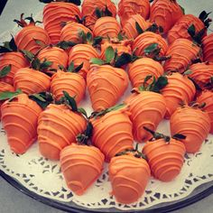White chocolate covered strawberries made ti look like Easter carrots:)