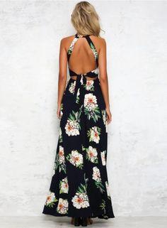 Elegant Halter Neck Floral Print Maxi Dress - OASAP.com