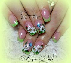<3 Beauty Nails, Hair Beauty, Flower Nails, French Nails, Nailart, Manicure, Nail Designs, 3d, Green