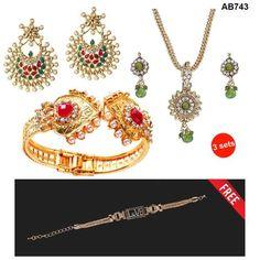 COMBOS-Multi Color  Alloy Jewellery Set - 1303751 , 1201806 , 1400217 , 1400535