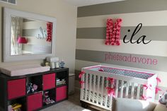modern nursery grey wall | girls modern baby nursery, diy nursery wall art