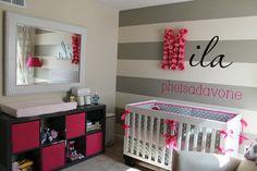 modern nursery grey wall   girls modern baby nursery, diy nursery wall art