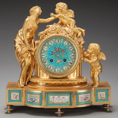 A Napoleon III Gilt Bronze Figural Mantle Clock with Inset Sèvres-Style Porcelain Plaques, circa 1855