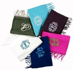 Soft as Cashmere Scarves from initial Outfitters $27-$30 personalized www.initialoutfitters.net/kimharp