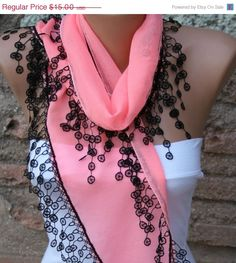 Coral & Black Scarf   Cotton  Scarf   Cowl by fatwoman,